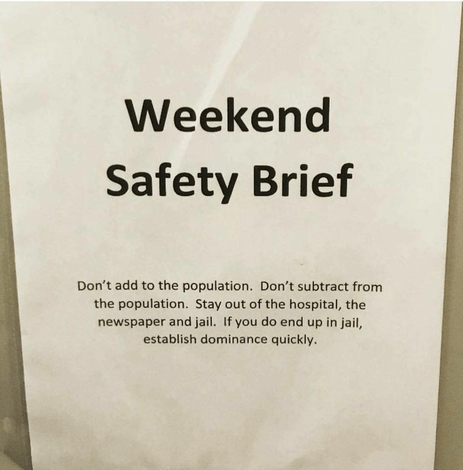Weekend Safety Brief