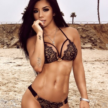 Lexi Vixi - Asian Model - Black Lace Bikini