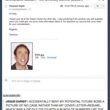 Job Application Mistake - Nic Cage Style